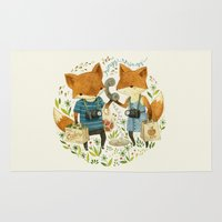 office Area & Throw Rugs featuring Fox Friends by Teagan White