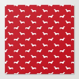 Dachshund pattern minimal red and white dog lover home decor gifts accessories silhouette Canvas Print