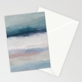 Dark Teal Blue, White, Pink, Light Blue Modern Wall Art, Ocean Waves Diptych Nursery Beach Decor Art Stationery Cards
