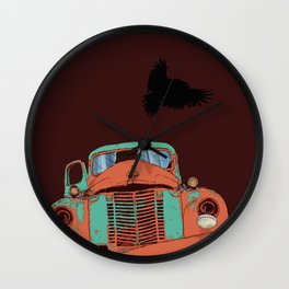 Art print: The old vintage car, the Raven and the Wolf skull Wall Clock