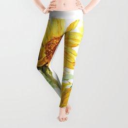 Watercolor Sunflower Leggings