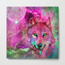 NEBULA WOLF OF MY DREAMS PINK Metal Print