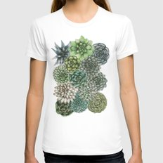 An Assortment of Succulents White MEDIUM Womens Fitted Tee