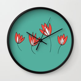 Whimsical Red and Teal Flowers by Emma Freeman Designs Wall Clock