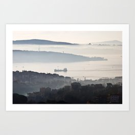 "Travel Photography ""Bosphorus in the mist at sunrise with blue colors"" taken in Istanbul, Turkey, fine art photo print.  Art Print"