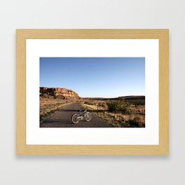 Biking in Chaco Canyon Framed Art Print