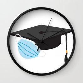 Class of 2020 Graduation - Black Graduation cap and Blue Face Mask Wall Clock