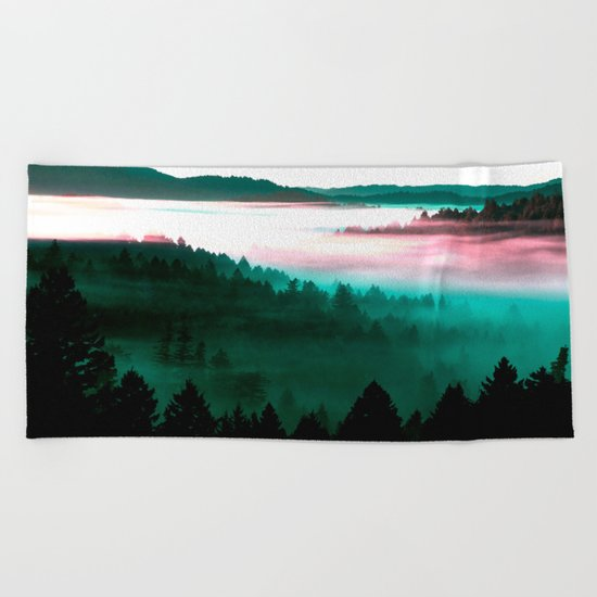 Misty Mountains Morning : Magenta Mauve Teal Beach Towel