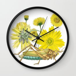 Yellow flowers and Grasshopper  Wall Clock
