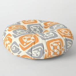 Mid Century Modern Galaxy Pattern 131 Orange and Gray Floor Pillow