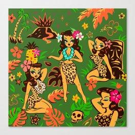 Tiki Temptress on Green Canvas Print