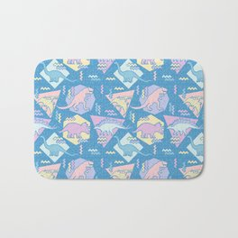 Nineties Dinosaurs Pattern  - Pastel version Bath Mat