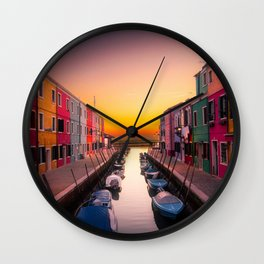 Venice Italy Boats Sunset Photography Wall Clock