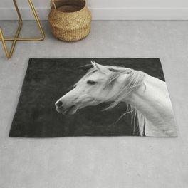 Arabian horse in black and white Rug