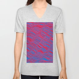 undulations in red and blue Unisex V-Neck