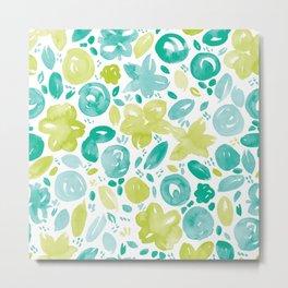 Floral Pattern #5 | Teal and Green Metal Print