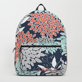 Floral Prints and Leaves, Navy, Aqua Coral and Gray Backpack