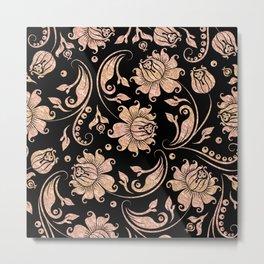 Rose-Gold & Black Floral Damasks Metal Print