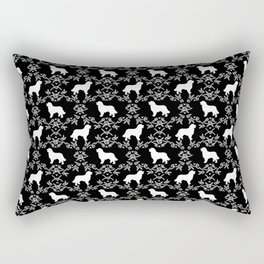 Bernese Mountain Dog florals dog pattern minimal cute gifts for dog lover silhouette black and white Rectangular Pillow
