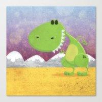 dinosaur Canvas Prints featuring dinosaur by Daniel Castrogiovanni