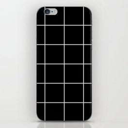 white grid on black background - iPhone Skin