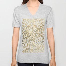 Modern Hipster Girly Gold Leopard Animal Print Unisex V-Neck