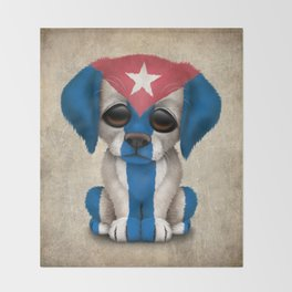 Cute Puppy Dog with flag of Cuba Throw Blanket