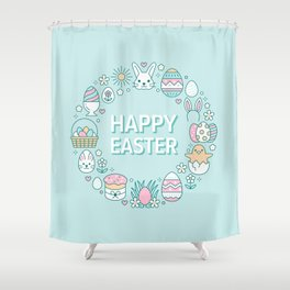 Happy Easter Wreath Aqua Bunny Eggs and Baskets - Pastel Teal Shower Curtain