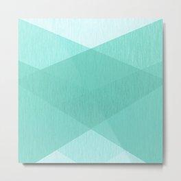 Mint geometric patchwork Metal Print