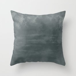 Burst of Color Night Watch Dark Green Abstract Watercolor Blend Throw Pillow