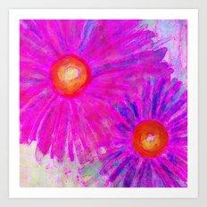 Bright Pink Sketch Flowers Art Print