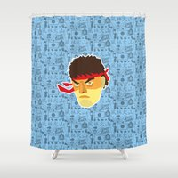 street fighter Shower Curtains featuring Ryu - Street Fighter by Kuki