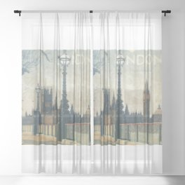 London Vintage skyline view of Westminster Abbey and Big Ben, painting from Victorian era Sheer Curtain