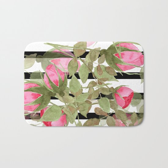 Watercolor . Buds of roses on a striped black and white background Bath Mat