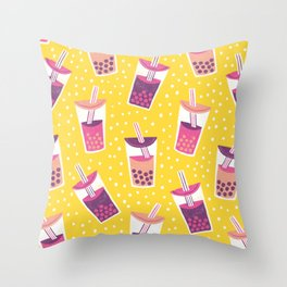 Bubble Tea Boba Pattern Throw Pillow
