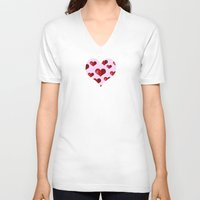 hearts V-neck T-shirts featuring Hearts by Marjolein