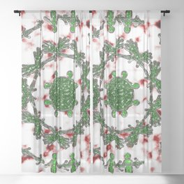 Green Red and Silver Alien Mandala Pattern Sheer Curtain