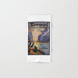 1925 Norway Land Of The Midnight Sun Travel Poster Hand & Bath Towel