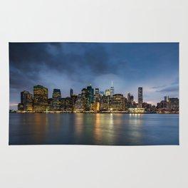 Lower Manhattan Skyline at night 2017 Rug