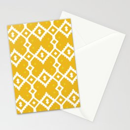 Yellow Chevron Diamond Pattern Stationery Cards