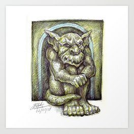 Green Gargoyle Art Print