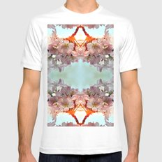 Delicate cherry blossoms White Mens Fitted Tee MEDIUM