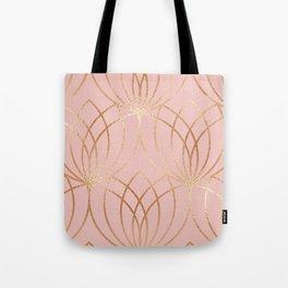 Rose gold millennial pink blooms Tote Bag