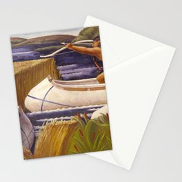 Sioux Native American Hunters on Lake Vermilion, Minnesota Territory landscape by Margaret Martin Stationery Cards