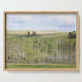 Lake and trees landscape Serving Tray