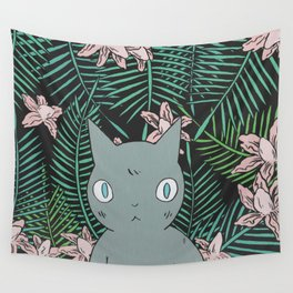 Cat with Palm Tree Leaves Wall Tapestry