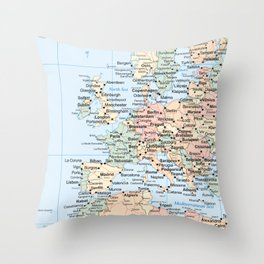 World Map Europe Throw Pillow