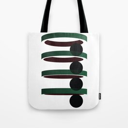 Geometric coloured architectural but abstract urban circles and elipses in green  and red graphic Tote Bag