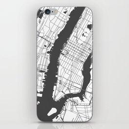 New York City White on Gray Street Map iPhone Skin