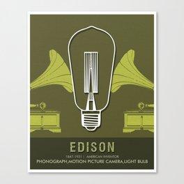 Science Posters - Thomas Alva Edison - Inventor Canvas Print